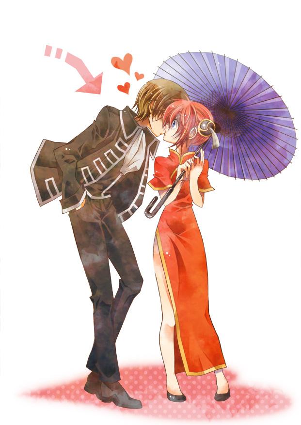 Tags: Anime, Gintama, Kagura (Gin Tama), Okita Sougo, Mobile Wallpaper, OkiKagu