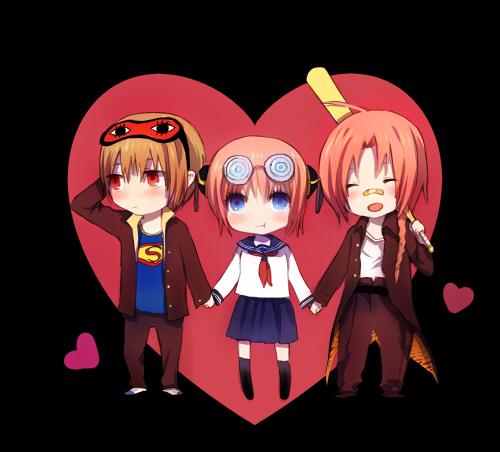 Tags: Anime, Shell (Pixiv236246), Gintama, Kamui (Gin Tama), Kagura (Gin Tama), Okita Sougo, Sleep Mask, Patch On The Nose, Swirly Glasses, 3z, Fanart, Pixiv, Silver Soul