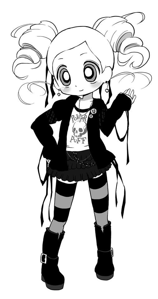 Tags: Anime, Knattoh, Power Puff Girls Z, Goutokuji Miyako, Chain Belt, Pins, Pixiv