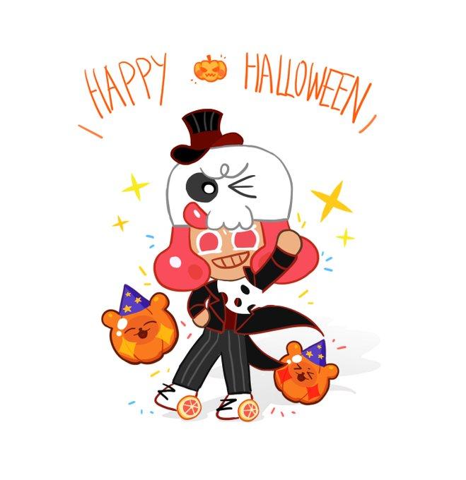 Tags: Anime, Tkrhdtk9874, Cookie Run: OvenBreak, Cookie Run, Grapefruit Cookie, Text: Halloween, Twitter, Fanart