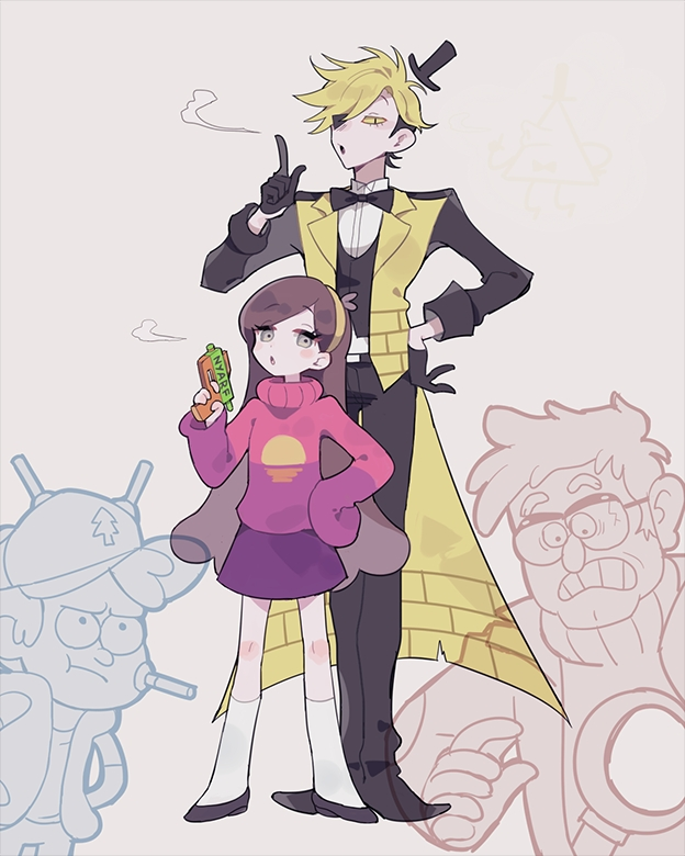 Tags: Anime, Chocogrotto, Gravity Falls, Bill Cipher, Dipper Pines, Mabel Pines, Stanley