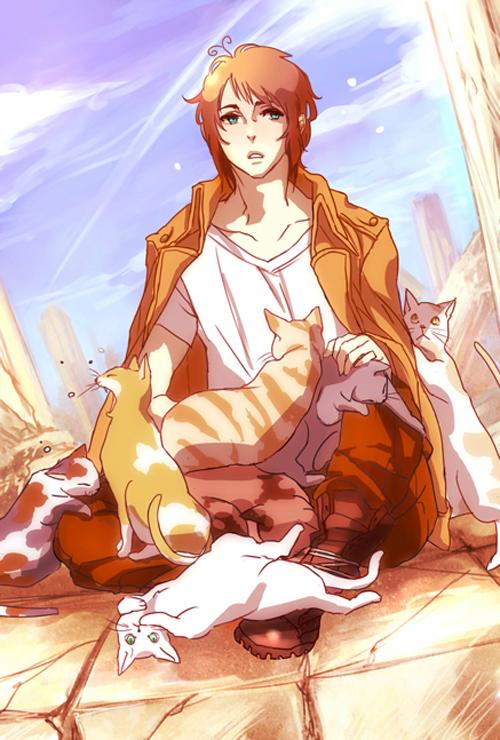 Tags: Anime, Pixiv Id 2335374, Axis Powers: Hetalia, Greece, Animal on Lap, Yawn, Column, Mobile Wallpaper, Pixiv, Fanart, Mediterranean Countries, Heracles Karpusi
