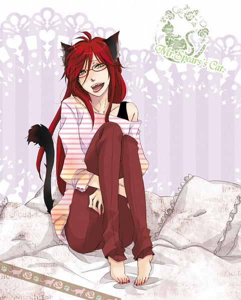 Tags: Anime, Camellia (Artist), Kuroshitsuji, Grell Sutcliff, Striped Shirt, Sheet, Loose Clothes