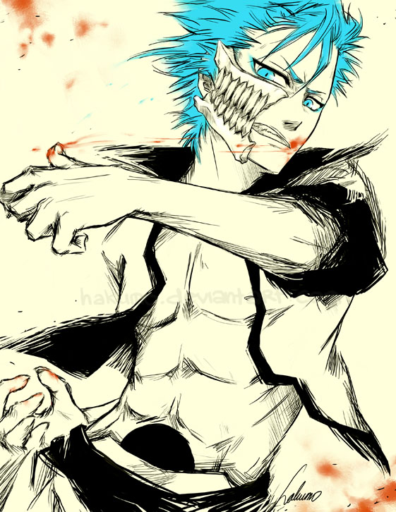 Tags: Anime, Hakumo, BLEACH, Grimmjow Jeagerjaques, Hole, Gritted Teeth, Arrancar Clothes, Fanart, deviantART, Fanart From DeviantART