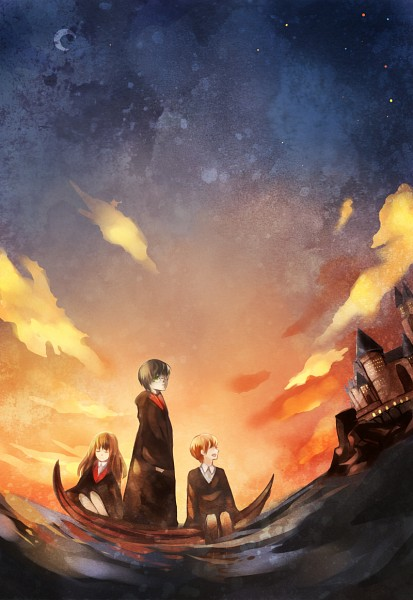 Tags: Anime, Pixiv Id 1773589, Harry Potter, Hermione Granger, Ron Weasley, Harry Potter (Character), Hood Down
