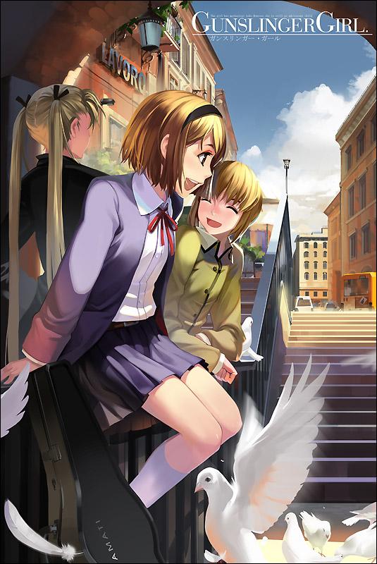 Tags: Anime, Alphonse, Gunslinger Girl, Rico (Gunslinger Girl), Henrietta (Gunslinger Girl), Triela, Instrument Case, Violin Case, Fanart From Pixiv, Pixiv, Mobile Wallpaper, Fanart