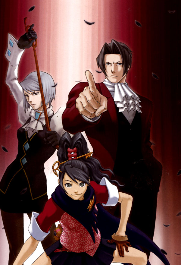 Tags: Anime, Capcom, Gyakuten Saiban, Ichijou Mikumo, Mitsurugi Reiji, Karuma Mei, Scan, Mobile Wallpaper, Official Art, Phoenix Wright: Ace Attorney