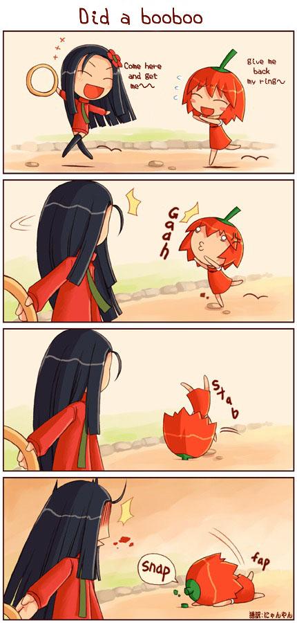 Tags: Anime, Shigatake, Habanero-tan, Habanero-tan (Character), Habanero-neesan, 4koma, Comic, Pixiv
