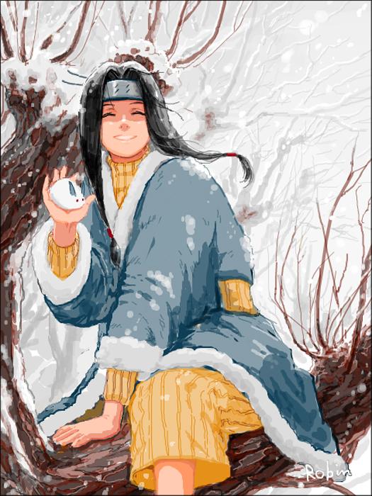 Tags: Anime, Lukeuehara, NARUTO, Haku (NARUTO), Snow Rabbit, Yellow Pants, Pixiv, Fanart