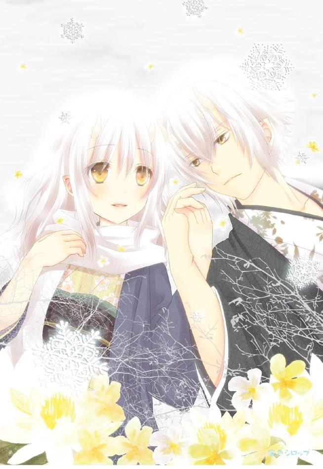 Tags: Anime, IDEA FACTORY, Hakuouki Shinsengumi Kitan, Kazama Chikage, Yukimura Chizuru, Mobile Wallpaper, Demon Of The Fleeting Blossom