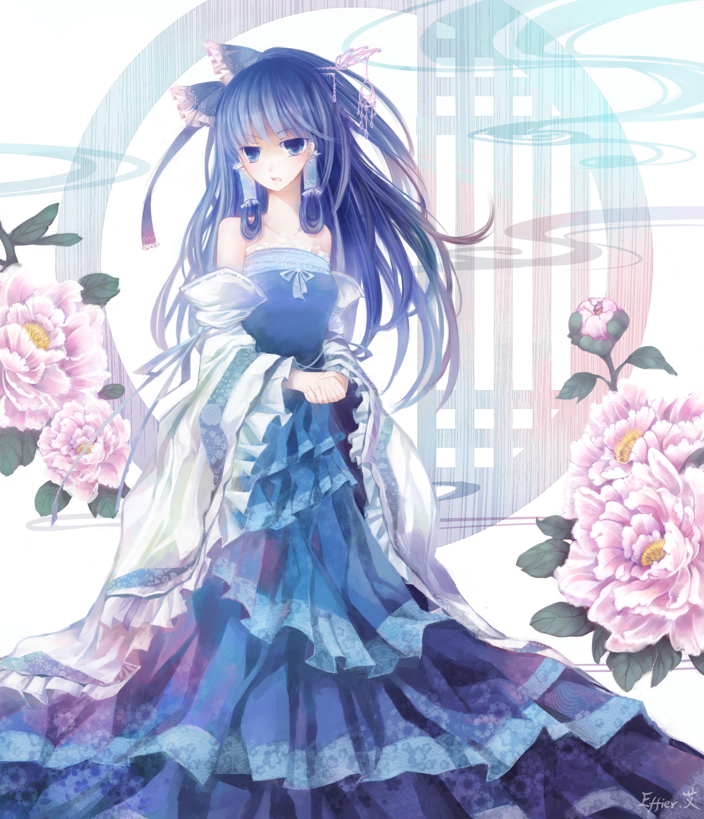 Картинки аниме девушек на аву в платье