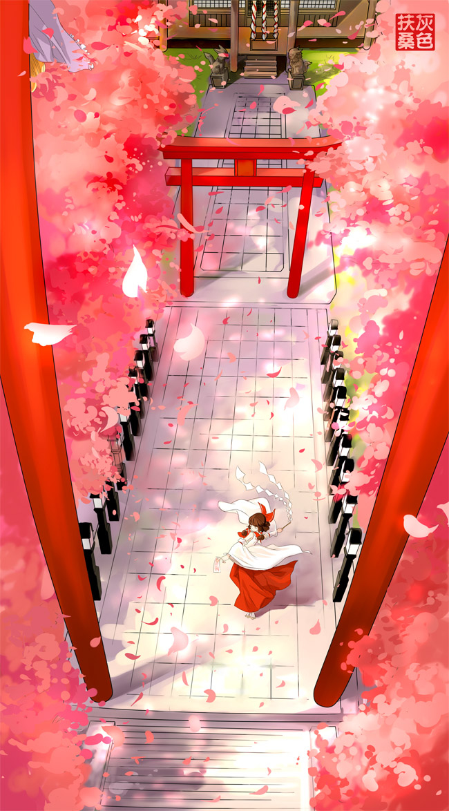 Tags: Anime, Pixiv Id 937437, Touhou, Yakumo Yukari, Hakurei Reimu, Shrine, Japanese Architecture, Spring, Fanart, Fanart From Pixiv, Pixiv, Mobile Wallpaper, Reimu Hakurei