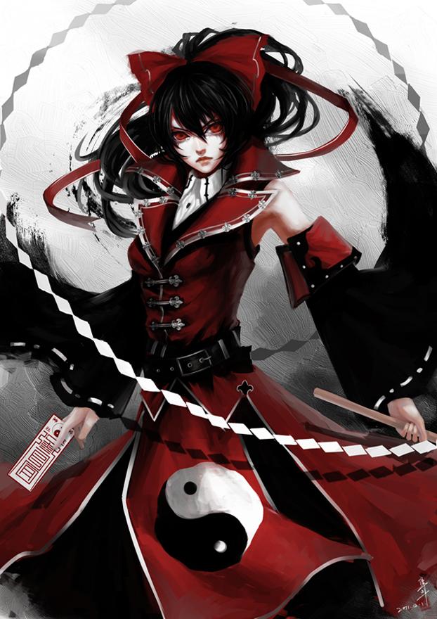 Tags: Anime, Jun Du, Touhou, Koumajou Densetsu, Hakurei Reimu, Yin Yang (Symbol), Pixiv, Mobile Wallpaper, Fanart, Reimu Hakurei