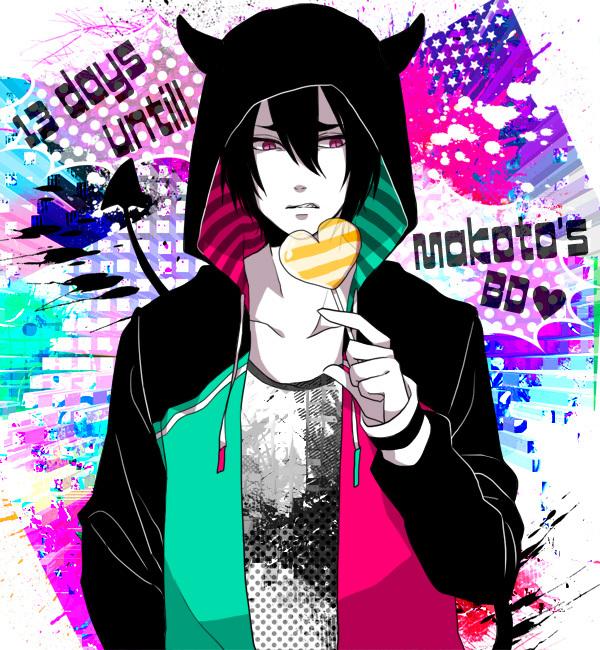 Tags: Anime, Pixiv Id 4330797, Kuroko no Basuke, Hanamiya Makoto, Multi-colored Background, Hood, Hood Up
