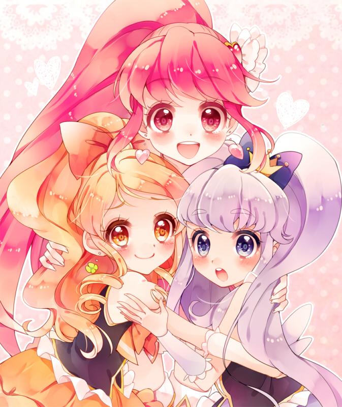 Tags: Anime, Uduki Shi, HappinessCharge Precure!, Shirayuki Hime, Cure Honey, Aino Megumi, Cure Princess, Oumori Yuuko, Cure Lovely, Yellow Skirt, Group Hug, Pixiv, Fanart From Pixiv
