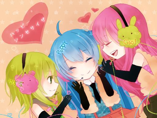 Tags: Anime, Makishimu, VOCALOID, Megurine Luka, Hatsune Miku, GUMI, Happy Synthesizer, Pixiv