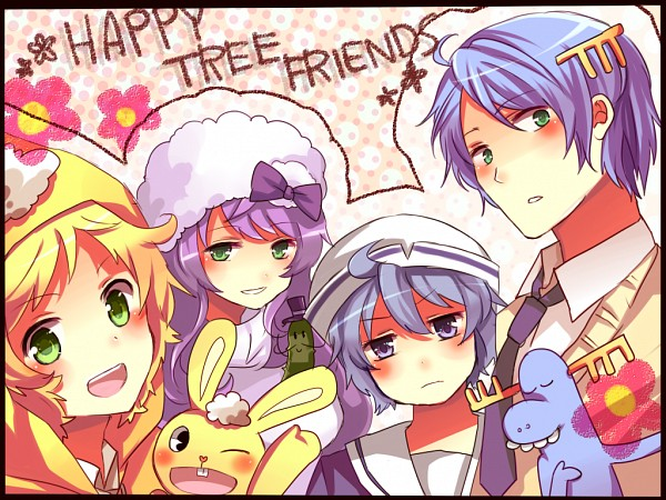 Tags: Anime, Pixiv Id 3276678, Happy Tree Friends, Mr. Pickles, Lammy, Lumpy, Cuddles (HTF)
