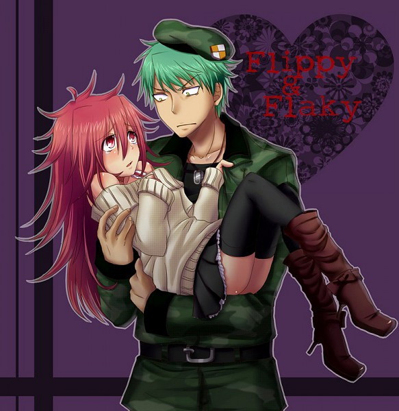 Tags: Anime, Pixiv Id 3634231, Happy Tree Friends, Flippy, Flaky, Princess Carry, Androgynous