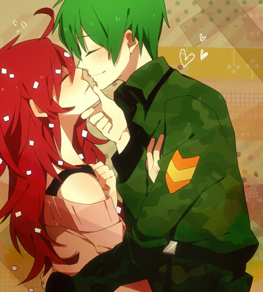 Tags: Anime, Sc69, Happy Tree Friends, Flippy, Flaky, Nose Touching, Fanart, Pixiv