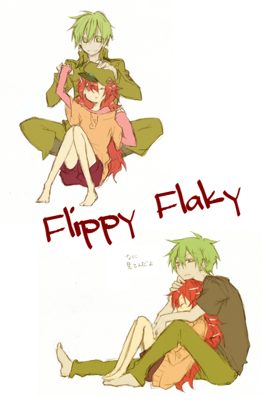 Tags: Anime, Androgynous, Happy Tree Friends, Flaky, Flippy, Yandere, Hug From Behind