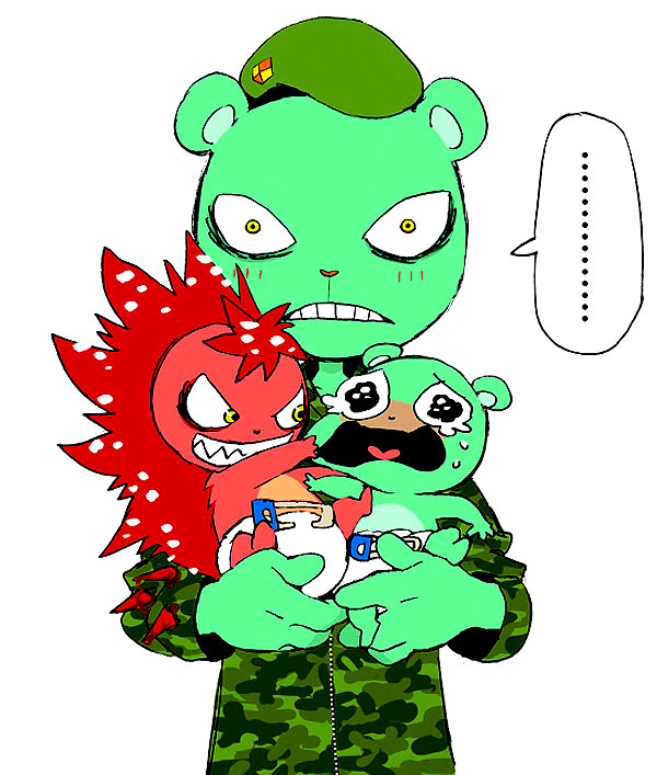 Tags: Anime, Happy Tree Friends, Flaky, Flippy, Chama (Pixiv 1266098)