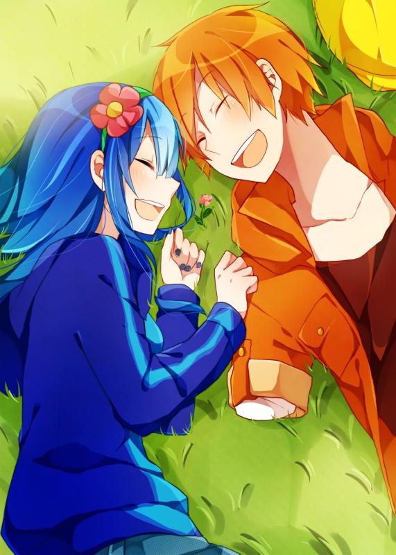 Tags: Anime, Asagao Minoru, Happy Tree Friends, Handy, Petunia (HTF), Laying on Grass, Orange Jacket, Orange Outerwear, Yellow Hat, Mobile Wallpaper, Pixiv, Fanart From Pixiv, Fanart