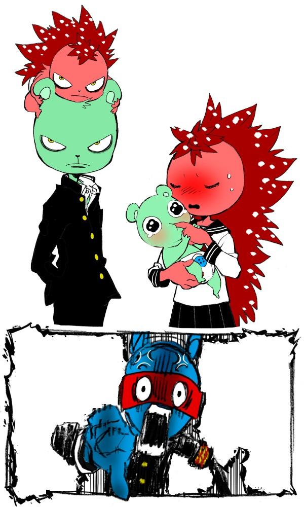 Tags: Anime, Chama (Pixiv 1266098), Happy Tree Friends, Splendid (HTF), Flippy, Flaky, Jealousy, Pixiv, Mobile Wallpaper
