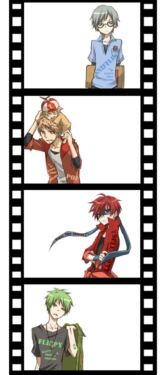 Tags: Anime, *Mihaya, Happy Tree Friends, Flippy, Splendont, Sniffles (HTF), Cub (HTF), Pop (HTF), Filmstrip