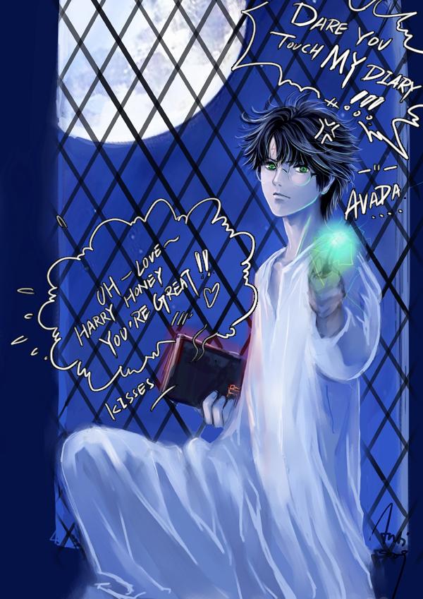 Tags: Anime, Woshibbdou, Harry Potter, Tom Marvolo Riddle, Harry Potter (Character), Aiming At Camera, deviantART, Fanart From DeviantART, Fanart, Mobile Wallpaper
