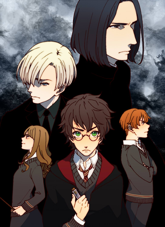 Tags: Anime, Pixiv Id 1054708, Harry Potter, Harry Potter (Character), Hermione Granger, Severus Snape, Ron Weasley, Draco Malfoy, Test Tube, V-neck, Mobile Wallpaper, Fanart, Fanart From Pixiv