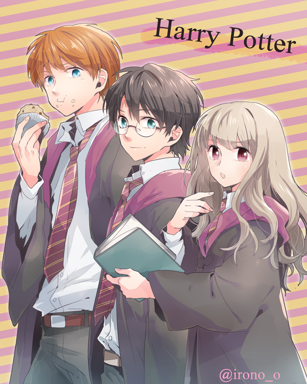 Tags: Anime, Irono Yoita, Harry Potter, Ron Weasley, Harry Potter (Character), Hermione Granger, Lightning Bolt (Symbol), Muffin, Fanart, Gryffindor House