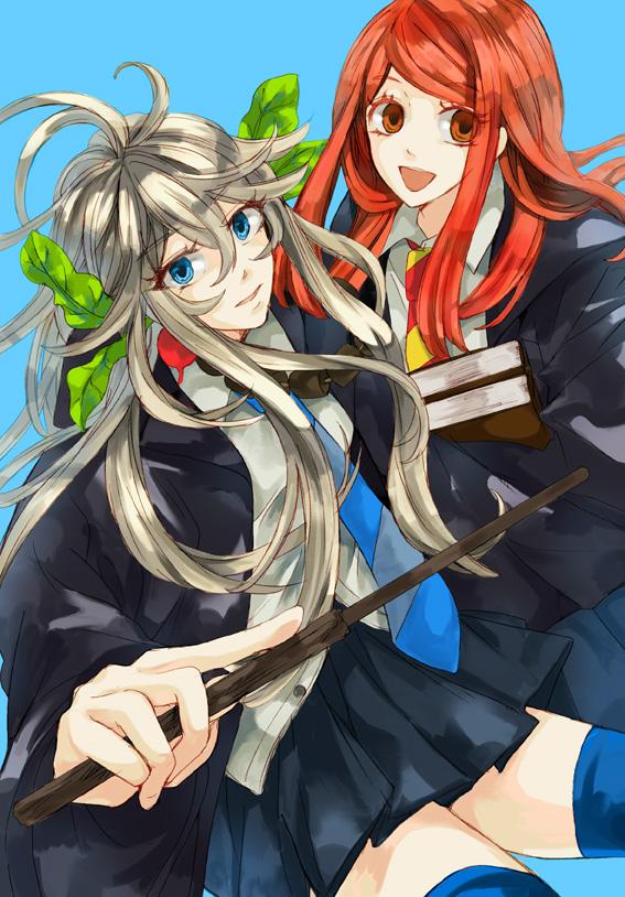 Tags: Anime, Pixiv Id 719136, Harry Potter, Ginny Weasley, Luna Lovegood, Cork, Radish, Pixiv, Mobile Wallpaper, Fanart, Gryffindor House, Ravenclaw House