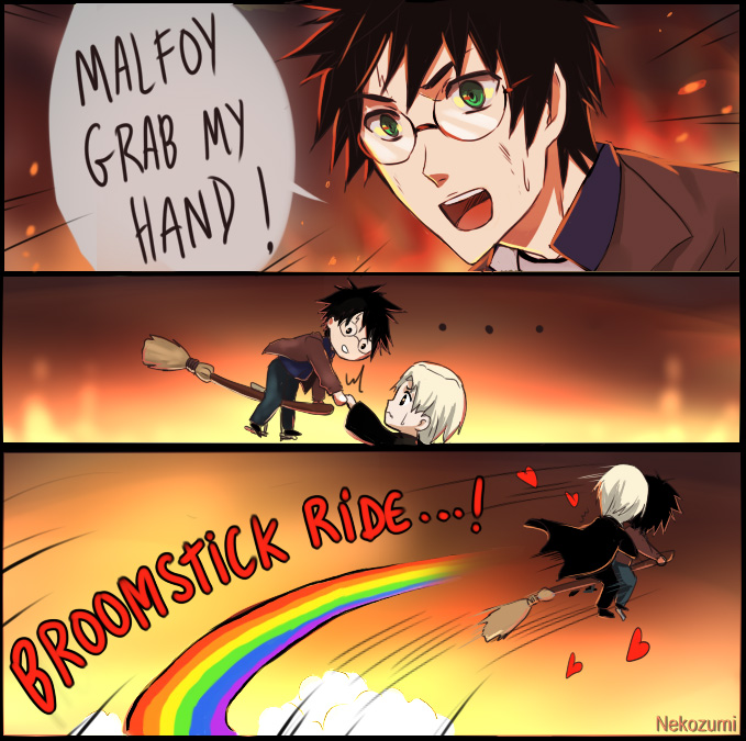 Tags: Anime, Nekozumi, Harry Potter, Draco Malfoy, Harry Potter (Character), Grabbing Hand, Grab My- Meme