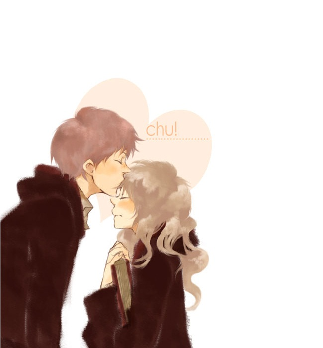 Tags: Anime, Pixiv Id 3413174, Harry Potter, Ron Weasley, Hermione Granger, Kiss on the Forehead