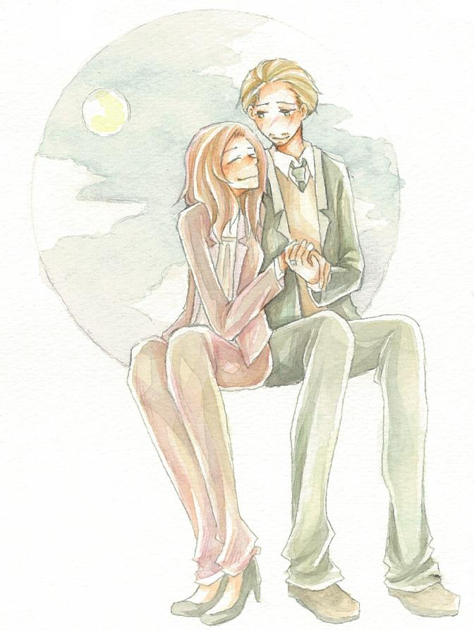 Tags: Anime, Pixiv Id 3174715, Harry Potter, Nymphadora Tonks, Remus Lupin, V-neck, PNG Conversion