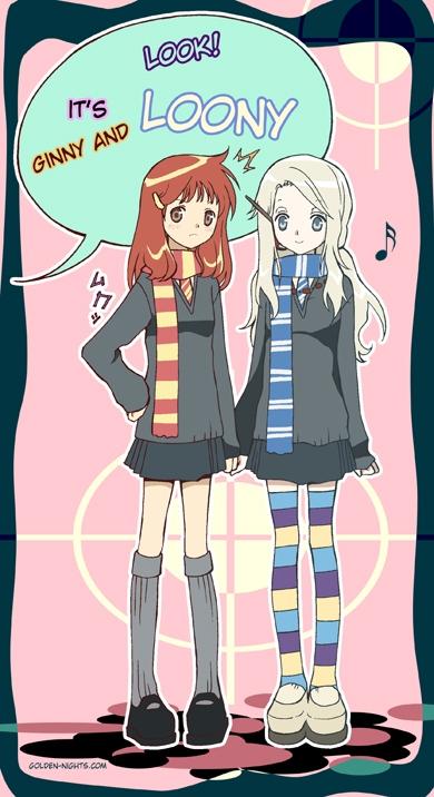 Tags: Anime, Inma R., Harry Potter, Luna Lovegood, Ginny Weasley, V-neck, Bottle Cap, Gray Legwear, Mobile Wallpaper, Ravenclaw House, Gryffindor House