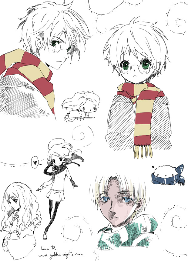 Tags: Anime, Inma R., Harry Potter, Luna Lovegood, Hermione Granger, Draco Malfoy, Harry Potter (Character), Mobile Wallpaper