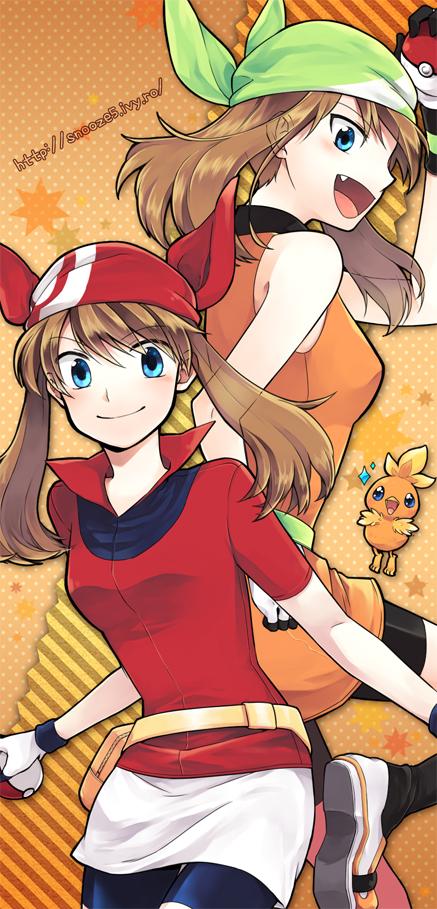 Tags: Anime, Pixiv Id 245423, Pokémon SPECIAL, Pokémon, Torchic, Haruka (Pokémon), Leggings, Fanart, Pixiv, May (pokémon)