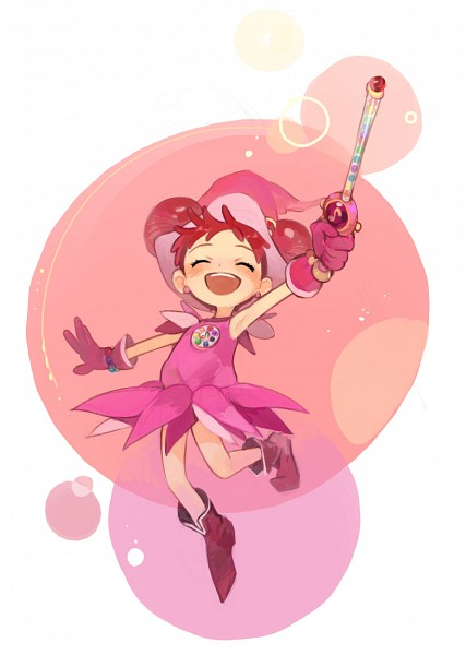 Tags: Anime, Ojamajo DoReMi, Harukaze Doremi, Wand, Witch Hat, Pink Outfit, Hair Buns