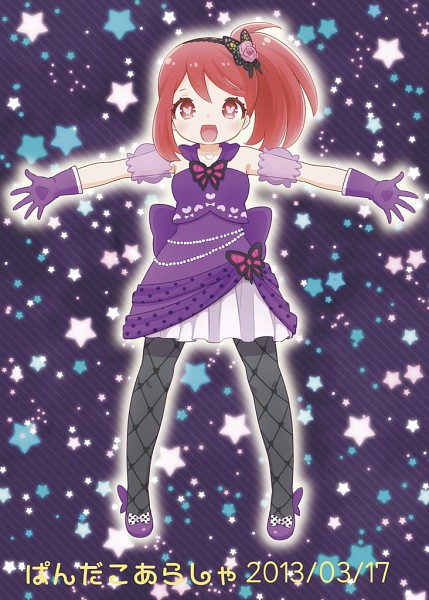 Tags: Anime, Butterfly, Purple Outfit, Arms Outstretched, Heart Eyes, Puffy Sleeves, Purple Background