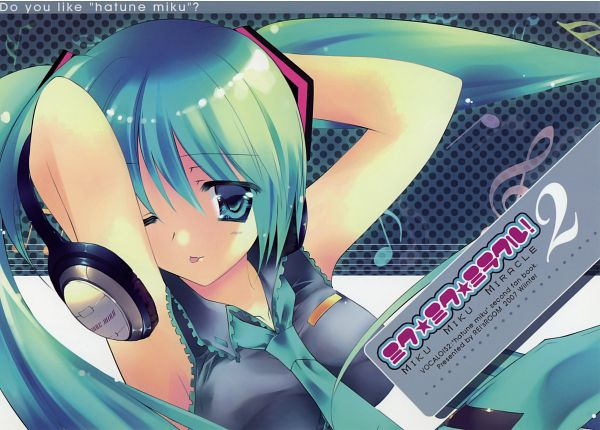 Tags: Anime, Rei (Artist), VOCALOID, Hatsune Miku, Hand Behind Head, Music Note, Headphones Around Neck