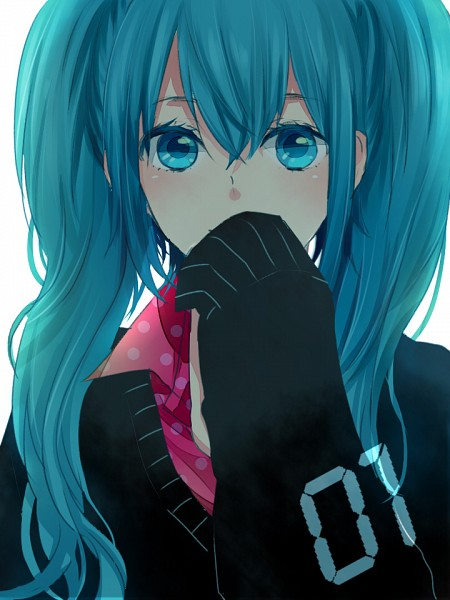 Tags: Anime, Asatani, VOCALOID, Hatsune Miku, Covered Mouth, Sleeves Past Wrists, Numbers