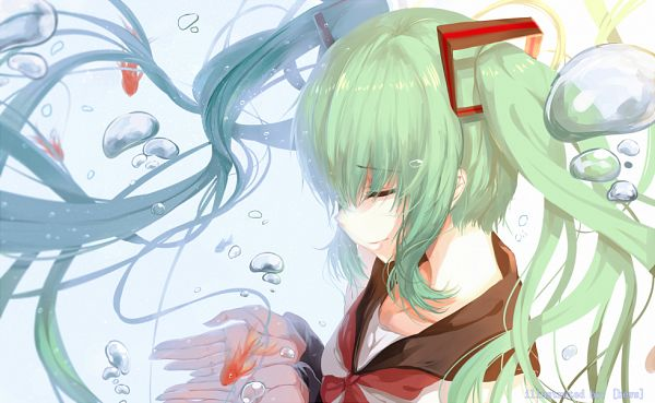 Tags: Anime, Hatsune Miku, Fish, Vocaloid, Bubble, Underwater, Goldfish