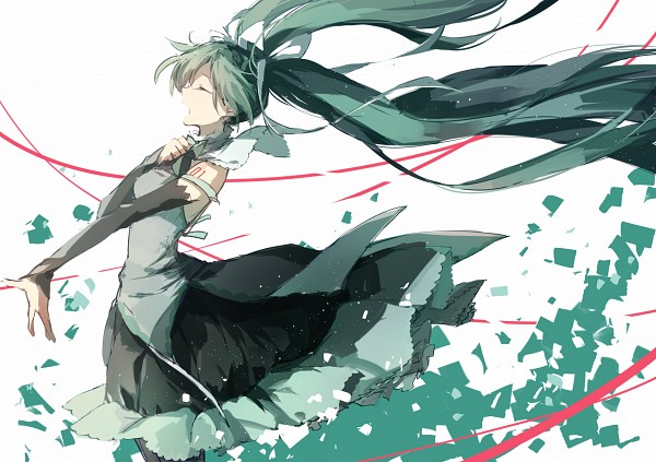 Tags: Anime, Hatsune Miku, Vocaloid, Wind, Blue Ribbon, Hand On Chest, Shuzi