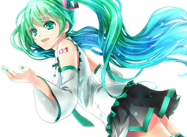 Tags: Anime, Hatsune Miku, Vocaloid, Wind, Pleated Skirt, Flowing Hair, Pleated