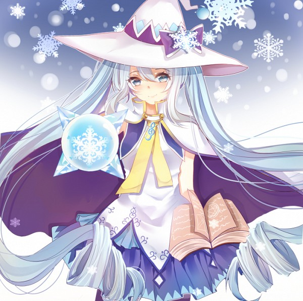 Tags: Anime, Hatsune Miku, Music, Winter, Vocaloid, Witch Hat, Snowflakes