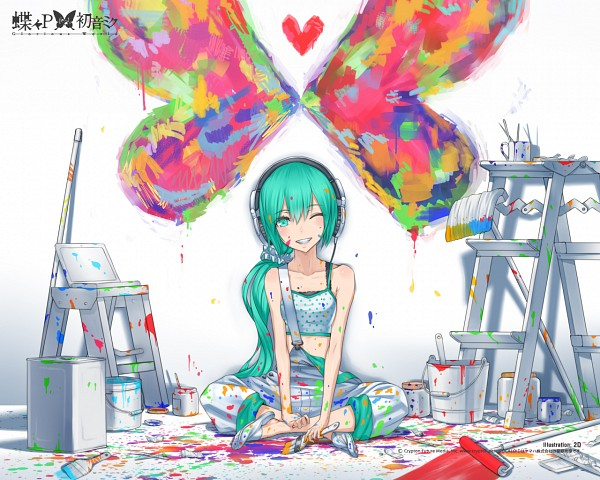 Tags: Anime, Hatsune Miku, Vocaloid, Tank Top, Bucket, Paintbrush, Suspenders