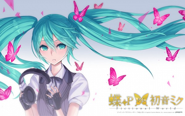 Tags: Anime, Hatsune Miku, Vocaloid, Butterfly, Widescreen 16:10 Ratio, Fingerless Gloves, Vest