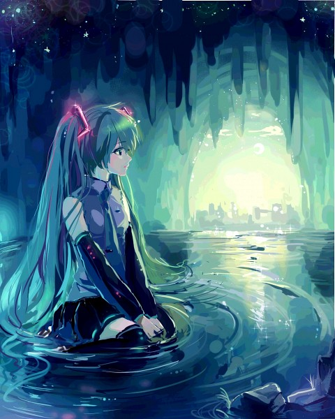 Tags: Anime, Hatsune Miku, Vocaloid, Yuumare, Sitting In Water, In Water