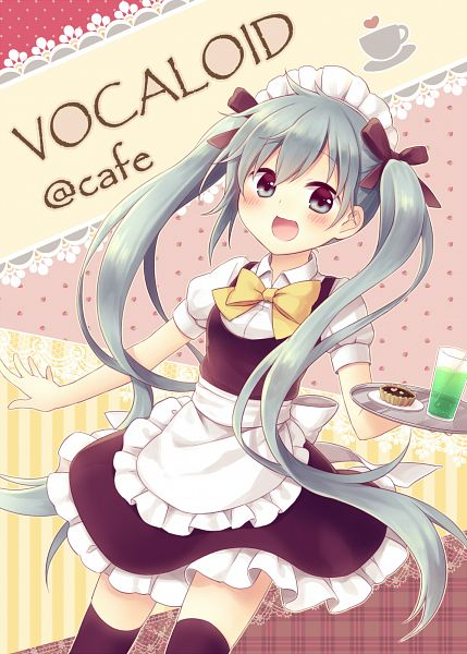 Tags: Anime, Hatsune Miku, Drinks, Apron, Vocaloid, Waiter, Headdress